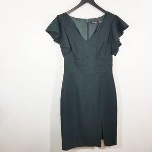 Ellen Tracy Flutter Sleeve V-Neck Sheath Dress